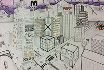 Stad tekening / Ik ben bezig met het tekenen van een stad. Hiervan maak ik foto's van de tussenstappen.