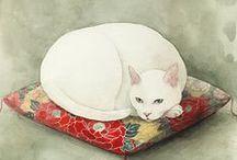 felinos - gravuras e pinturas