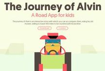 APP-The Journey of Alvin /  The Journey of Alvin A Road App for kids The journey of Alvin is an interactive story with which you can accompany Alvin, riding his old mower, willing to travel 400 miles to be reunited with his brother.