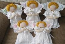 Anjos de Pano para Daminhas e Pajens / Requinte em anjos de pano, confeccionados com materiais nobres e artesanalmente.