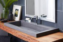 Bath room bath design concrete sink concrate style