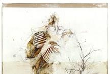 Cannibal siamese / Nunzio Paci title: Cannibal siamese dim: cm 190x140 tecnique: pencil, oil, enamel, resins, bitumen on canvas