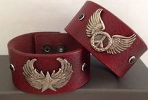 Biker Collection  / Biker cuffs repurposed from belts that we find at local yard sales, church fairs, and thrift shops.