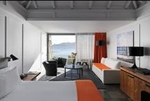 Ocean Panoramic Junior Suite / The Ocean Panoramic Junior Suites are located on the cape facing the ocean with amazing sunsets and offer 462 square feet of modern comfort with a designers seating area to relax on the sound of the surf. With a balcony facing the finest sea view. Beautifully appointed bathrooms and shower. / by Hotel Christopher St Barth