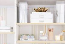 OFFICE DECOR / Inspiration for beautiful office spaces with lots of bright white and gold accents