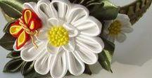 Flores: papel, genero, rosones, listones, cintas, organza, perlas.