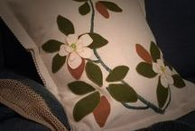 Wool Applique &  Embroidery  kits / DIY pure wool applique cushion & baby blanket kits. Bespoke, modern and complete.