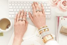 { Office Inspiration } / Dreamy desks  in all white, gold, and peony roses.