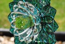 recycled glass / garden flowers, bird feeders, candle holders and more
