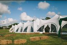 Trapeze Marquee / Beautiful and distinctive marquees with high peaked roofs and curved wall arches.