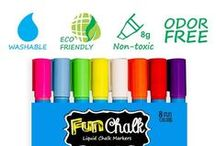 FUN CHALK Liquid Markers / The most versatile marker on the market. It writes on every non-porous surface and wipes off clean with water.