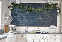 Kitchens and Chalkboards / The kitchen is always the heart of the home where everyone congregates in it's warmth.  Imagine the fun you can have with a chalkboard! Take a look here for some inspiration!  Fun Chalk Markers are dustless, toxic free, odourless and washable making them perfect for a kitchen environment.