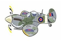 my aviation designs / cartoon style designs of famous military planes