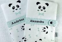 """Collection """"Panda"""". Petit Merlin Mercerie Contemporaine et Créations Françaises. Https://www.petitmerlin.com / Accessoires bébés et enfants. Qualité et originalité au service des plus petits !  Https://www.petitmerlin.com La page Facebook : http://www.facebook.com/Boutique.petitmerlin"""