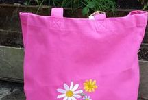 #Jute & #Canvas Bags/Bags for Life with #embroidery designs / Brighten up your life with these fab embroidered bags for all occassions--not just the shopping Pink, Green or Natural Jute/canvas bags. They are nice & big & have long handles on the shoulder. Ideal for shopping , beach etc