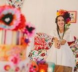 { Our Viva La Fiesta Tent } / This bold, Mexican-inspired tent is the most recent addition to the collection and was inspired by travels in South America and has 'Day of the Dead' and 'Frida Kahlo' inspirations.