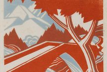 2colors / 2colors or 2colors tone. Linocut, etching,  block prints, illustrations, etc.