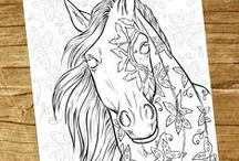 Horse Lovers Coloring Books / This board is for you if you love coloring and absolutely love horses and all things equine like I do! From horses to pegasus', unicorns, ponies to zebras. http://selahworks.com/adult-coloring-books/