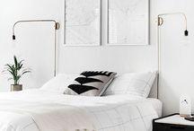 Master bedroom moodboard / Wit/zwart/hout/licht