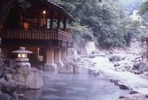 onsen / Onsen, the traditional Japanese baths, can be indoor or outdoor, and are catered by thermal water. Onsen and rotenburo are the very experience of simplicity and relaxation.