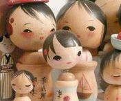 kokeshi inspired / Art, fashion, wooden dolls, cute items, stationery etc inspired by the Japanese traditional craft of kokeshi dolls.