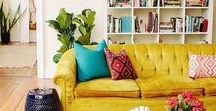living room decor / Ideas for a modern living room decoration, or main room inspiration in home decor: arrangement, wall decoration, furniture, rugs... My preferences go toward new boho / bohemian style, urban jungle, etc... and praticality.