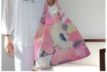 Pastel Tote Bag / Leather tote bag in printed calfskin. Soft pastel shades create a glamour feel while the ruches and fine leather make for a cute tote bag with a romantic look.