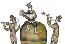 Klezmer musicians by Eugene Ivanov #eugeneivanov / Original watercolor paintings by #eugeneivanov. The official website by artist Eugene Ivanov: http://opatov.wix.com/eugeneivanov  #@eugene_1_ivanov