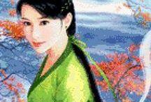 Borduren Geisha's