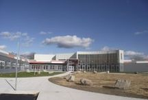 South Queen's Junior High School / Location: Liverpool, NS Products: Equitone Tectiva TE20 Grey, TE40 Terra Red & TE90 Super White