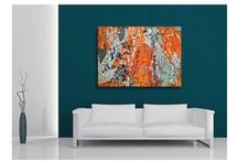 Orange Canvas Wall Art / Original contemporary, modern orange canvas wall art by Sam Freek #canvasart #wallart