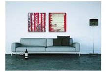 Red Canvas Wall Art / Original contemporary, modern red canvas wall art by Sam Freek #canvasart #wallart