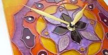 mandala hand-painted glass wall clocks / All of these mandala glass wall clocks are designed and hand-painted by me. Hope you like them. :)  #mandala #hand-panited  #glass wall clock