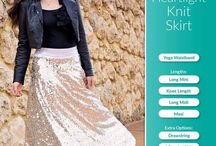 Ladies Heartlight Knit Skirt PDF Sewing Pattern / Sew yourself an A-line Knit Skirt with comfortable yoga-style waistband in Mini, Knee Length, Midi or Maxi.