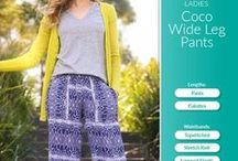 Ladies Wide Leg Pants Sewing Pattern / The ladies Coco Wide Legs pants right on trend. They are comfortable, easy fitting pant that feature light gathers falling gently from the hip to a wide leg finish.