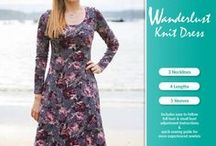 Wanderlust Stretch Knit Dress / PDF sewing pattern for stretch knits. The Wanderlust is a fit & flare dress sewing pattern. Mix and match different necklines, sleeves & dress lengths.