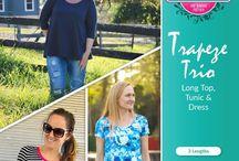 Trapeze Top, Tunic & Dress PDF Pattern / Trapeze Top, Tunic & Dress sewing pattern by Pattern Emporium. Swing style dress, tunic & top. Short sleeve, 3/4 sleeves, long sleeves. Stretch knit ladies sewing pattern.