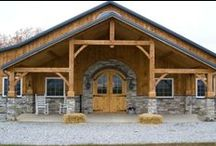 new barn at Spirit Gate / I am so happy and grateful now for our new barn, its 4 roomy stalls with walkouts, a wash/grooming station and tack/feed room. Small but soooo elegant. Timber frame with sky lights and chandeliers - of course!