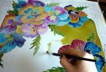 Ζωγραφική στo Μετάξι-Μπατικ / Silk Art-Batik / Μπατίκ :Η ρίζα της λέξης, είναι βασικά Γιαβανέζικης προέλευσης (από το νησί Ιάβα της Ινδονησίας που θεωρείται η πατρίδα του μπατίκ) και σημαίνει σχεδιάζω με κερί
