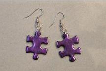 Jigsaw puzzle piece earrings / Earrings made of jigsaw puzzle pieces. Minka / www.minka.fi