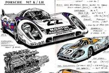 917 - SCALFARO MOOD BOARD - LM917 HANS MEZGER WATCH EDITION / Images of the Porsche 917 racing car which was developed under the guidance of Ferdinand Piech and Hans Mezger in 1969 and inspired the Scalfaro LM917 Hans Mezger Watch Edition - the Air-Cooled Chronograph