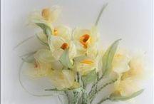 Цветы из лент и ткани...