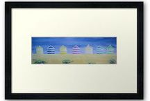 Beach Hut Paintings / Watercolour painting of striped beach huts