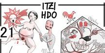 Itzi Hdo Shop / Ilustraciones de mi tienda de Etsy * Itzi Hdo *. Dibujos en paper de acuarela, realizados con tinta china roja y negra. Pincel y plunilla.