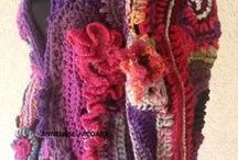 free form crochet / Hand crocheted CARDIGANS ,Coats,Blouses in freeform styl.