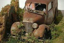 Scale Models With Rust / Scale models (mostly cars) made to look rusty/abandoned.