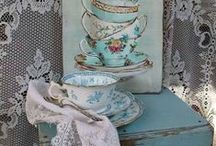 Teacups / pink, blue, white, cream ones with a story to tell