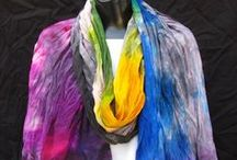 Scarves, Scarves, Scarves / One-of-a-kind, hand-painted silk scarves to add color to your wardrobe. Each is a work of art!
