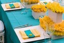 Lemon/Aqua Wedding / Lemon Yellow & Agua/Teal Remixed