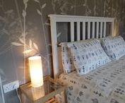 Hannah Nunn at Elmet Farmhouse / Lamps, wallpapers and cushions designed by Hannah Nunn, used as furnishings at Elmet Farmhouse holiday cottage, Hebden Bridge, Yorkshire www.elmetfarmhouse.co.uk www.hannahnunn.co.uk